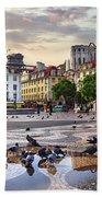 Downtown Lisbon Beach Towel by Carlos Caetano