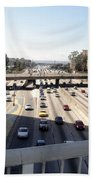 Downtown Los Angeles. 110 Freeway And Wilshire Bl Beach Towel