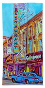 Downtown Montreal Street Rue Ste Catherine Vintage City Street With Shops And Stores Carole Spandau  Beach Towel