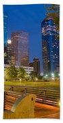 Dowtown Houston By Night Beach Towel