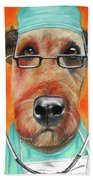 Dr. Dog Beach Towel by Michelle Hayden-Marsan