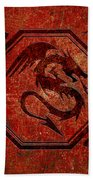 Dragon In An Octagon Frame With Chinese Dragon Characters Red Tint  Beach Towel