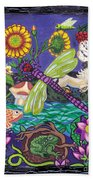 Dragonfly And Unicorn Beach Towel by Genevieve Esson