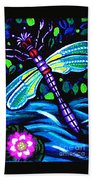Dragonfly And Water Lily Beach Towel