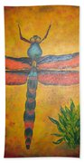 Dragonfly In Flight Beach Towel