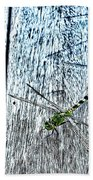 Dragonfly On A Bench Beach Towel