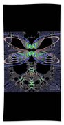 Dragonfly Queen At Midnight Fractal 161 Beach Towel