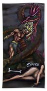 Dragonslayer N Damsel Beach Towel