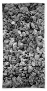 Dramatic Black And White Petals On Stones Beach Towel
