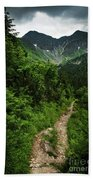 Dramatic Mountain Landscape With Distinctive Green Beach Towel