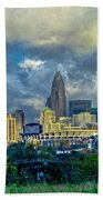 Dramatic Sky With Clouds Over Charlotte Skyline Beach Towel
