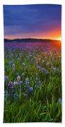 Dramatic Spring Sunrise At Camas Prairie Idaho Usa Beach Towel