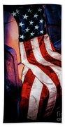 Draped American Flag Beach Towel