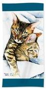 Dreamland - Bengal And Savannah Cat Painting Beach Towel