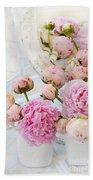 Dreamy Shabby Chic Romantic Peonies - Garden Peonies White Mason Jars Beach Towel