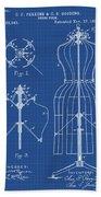 Dress Form Patent 1891 Blueprint Beach Towel