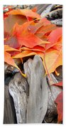 Driftwood Autumn Leaves Art Prints Baslee Troutman Beach Towel