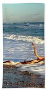 Driftwood In The Surf Beach Towel