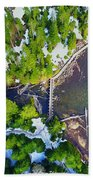Drone Shot Of Lake 22 Bridge Beach Towel