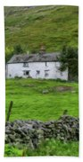 Dry Stone Wall And White Cottage - P4a16022 Beach Sheet