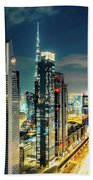 Dubai Downtown Architecture And A Highway.  Beach Towel