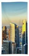 Dubai Towers At Sunset. Beach Towel