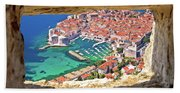 Dubrovnik Historic City And Harbor Aerial View Through Stone Win Beach Towel