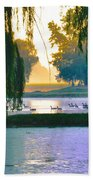 Duck Pond At Dawn Beach Towel