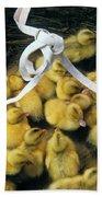 Ducklings In A Basket Beach Towel
