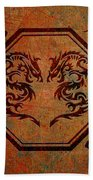 Dueling Dragons In An Octagon Frame With Chinese Dragon Characters Yellow Tint  Beach Towel