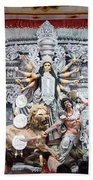 Durga Idol At Puja Pandal Durga Puja Festival Beach Towel
