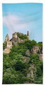 Durnstein Castle And Stone Outcroppings Beach Towel