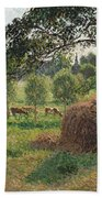 Dusk At Eragny Beach Towel by Camille Pissarro