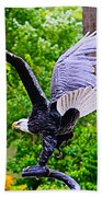 Eagle In The Garden Beach Towel