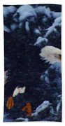 Eagle In The Storm Beach Towel