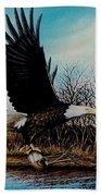 Eagle With Decoy Beach Towel