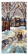 Original Montreal Paintings For Sale Winter Walk After The Snowfall Exceptional Canadian Art Spandau Beach Towel