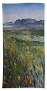 Early Morning Fog In The Foothills Of The Overberg Range Of Mountains Near Heidelberg South Africa. Beach Towel