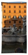 Early Morning Glow - Neptune Fountain On Piazza Navona In Rome Italy Beach Towel