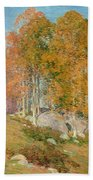 Early October Beach Towel by Willard Leroy Metcalf