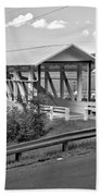 East St. Claire Covered Bridge Black And White Beach Towel