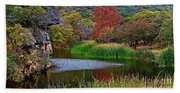East Trail Pond At Lost Maples Beach Towel