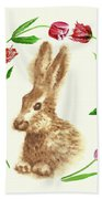 Easter Background With Rabbit Beach Towel