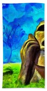 Easter Island - Van Gogh Style - Pa Beach Towel