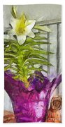 Easter Lily And Doll Beach Towel