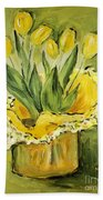 Easter Tulips Beach Towel by Maria Langgle