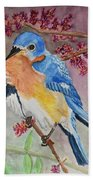 Eastern Bluebird Vertical  Beach Towel