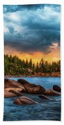 Eastern Glow At Sunset Beach Towel