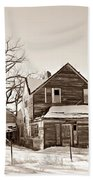 Eastern Montana Farmhouse Sepia Beach Towel