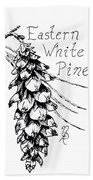 Eastern White Pine Cone On A Branch Beach Sheet